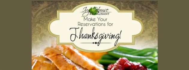Ivy House Thanksgiving Menu