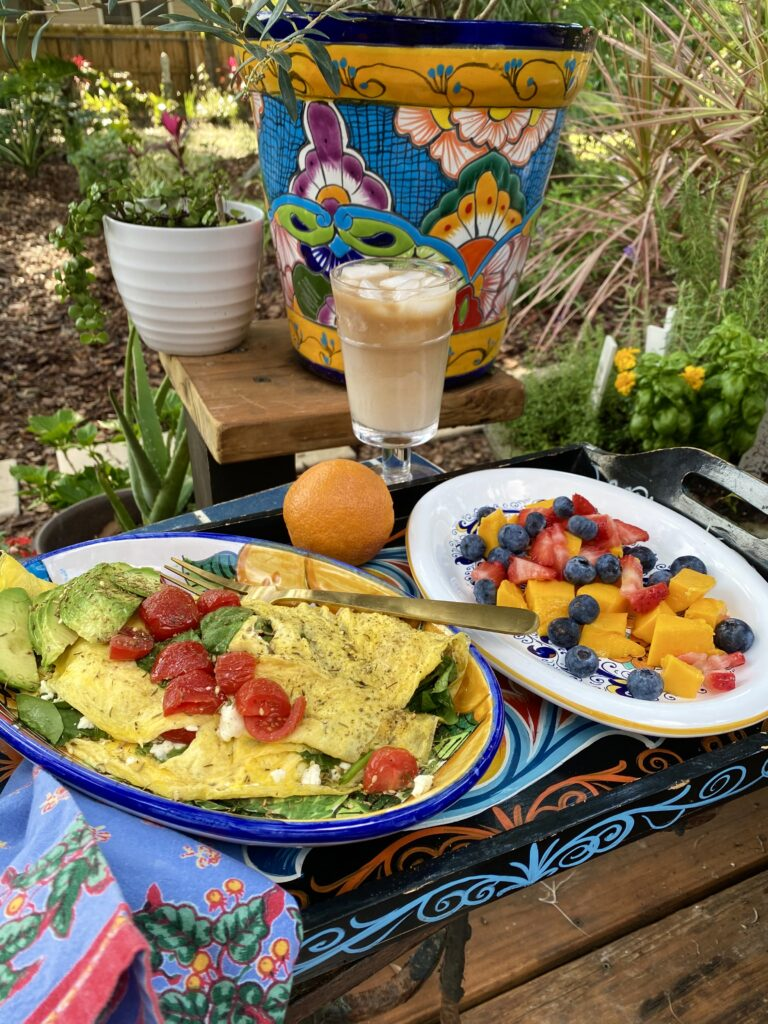 For the Mediterranean diet lover Mom spinach, feta and tomato omelette